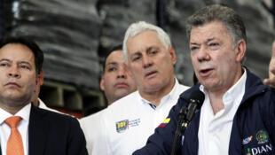O presidente colombiano Juan Manuel Santos durante coletiva de imprensa em Cucuta, em 8 de fevereiro de 2018.