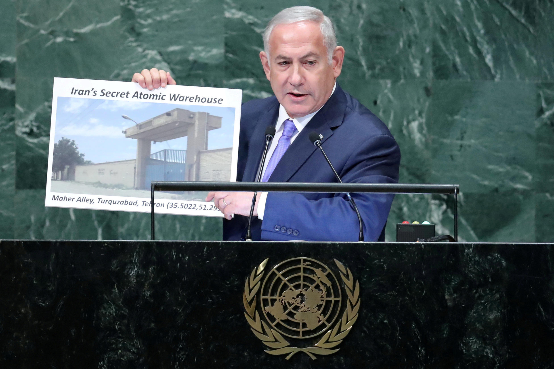 Биньямин Нетаньяху во время заседания Генассамблеи ООН назвал адрес, по которому в Тегеране якобы находится секретный склад