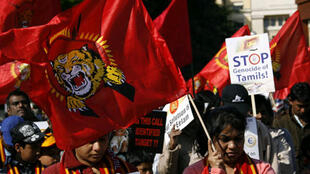 LTTE supporters demonstrate outside UN offices in Geneva in 2009