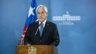 Shugaban kasar Chile Sebastian Pinera yayin jawabi ga 'yan kasar 21 ga watan Oktoban 2019 a birnin Santiago