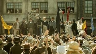 A still from Mike Leigh's 'Peterloo'. The crowd gathered in St Peter's Fields in Manchester before the cavalry rides in to disperse them killing 15 and injuring many more in August 819