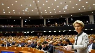 Chủ tịch Ủy Ban Châu Âu Ursula von der Leyen phát biểu trong phiên họp giới thiệu Thỏa Ước Xanh, Bruxelles, ngày 11/12/2019.