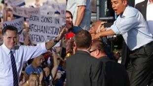 Fotomontagem dos dois candidatos à presidência dos Estados Unidos no último dia de campanha.
