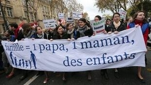 A protest against same sex marriage in Paris in November.