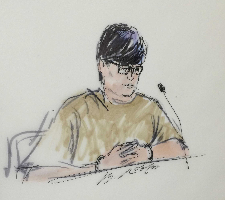 Esboço de Enrique Marquez, 24, feito durante audiência no Tribunal Federal de Riverside