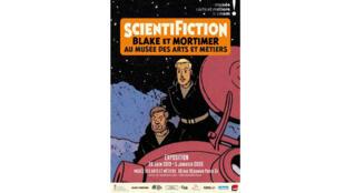 Affiche de l'exposition «Scientifiction, Blake et Mortimer au musée des Arts et Métiers».