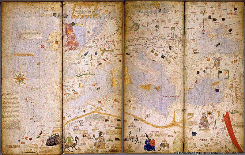 Редчайший каталонский атлас на деревянных панелях, 1375 год,