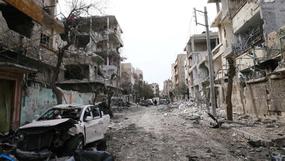 Cảnh tàn phá trong thành phố Douma (Đông Ghouta), gần Damas (Syria) ngày 25/02/2018. February 25, 2018.