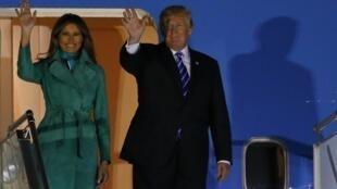 美國總統特朗普抵達華沙訪問。2017-07-05