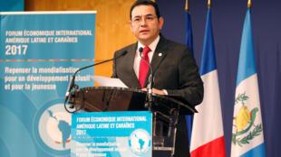 El presidente de Guatemala, Jimmy Morales, durante el el IX Foro Económico de América Latina y el Caribe que se celebraba este 9 de junio de 2017 en la capital francesa.