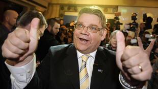 Timo Soini, le leader des Vrais Finlandais, parti eurosceptique qui est arrivé troisième aux dernières élections législatives en Finlande.