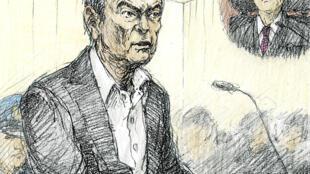 Carlos Ghosn dibujado durante su primera audiencia pública, el 8 de enero de 2019