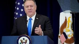 Fidèle entre les fidèles de Donald Trump, le secrétaire d'Etat Mike Pompeo ici lors d'un point consacré à la situation des droits de l'homme en Iran, le 19 décembre 2019 à Washington.