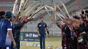 Umar Gul was given a guard of honour from teammates and opponents after his final match