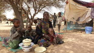 Rafia, une femme réfugiée du Mali, se repose sous un arbre près de son abri de fortune à Mangaizé, dans le nord du Niger.