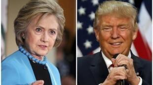 Hillary Clinton (g.) et Donald Trump vont débattre durant 90 minutes face à un millier de personnes triées sur volet.