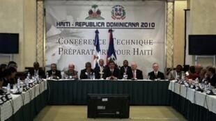 Une réunion préparatoire au sommet  international sur la reconstruction d'Haïti s'est tenue à Saint-Domingue, le 17 mars 2010.