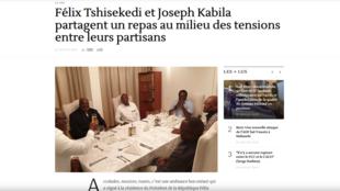 Félix Tshisekedi et Joseph Kabila, autour d'une même table nappée de blanc.