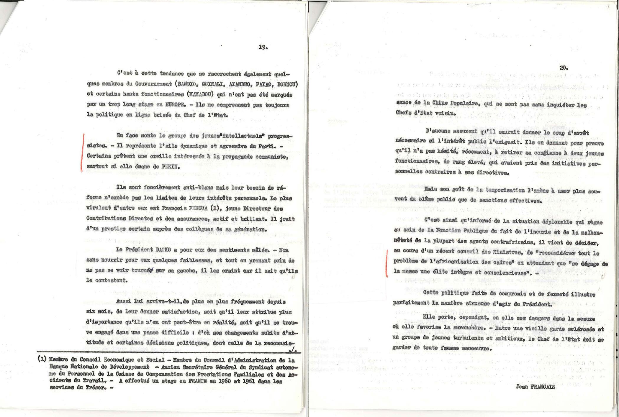 Archive du Fonds Foccart : extrait du rapport de l'ambassadeur Jean Français au ministère des Affaires étrangères, 13 mai 1965.