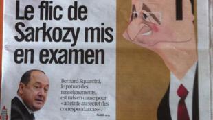 O indiciamento do número 1 do serviço secreto francês por espionagem dos telefonemas de um jornalista é destaque nos jornais desta terça-feira.