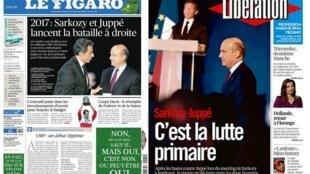 Capa dos jornais franceses Le Figaro e Libération desta segunda-feira, 24 de novembro de 2014.