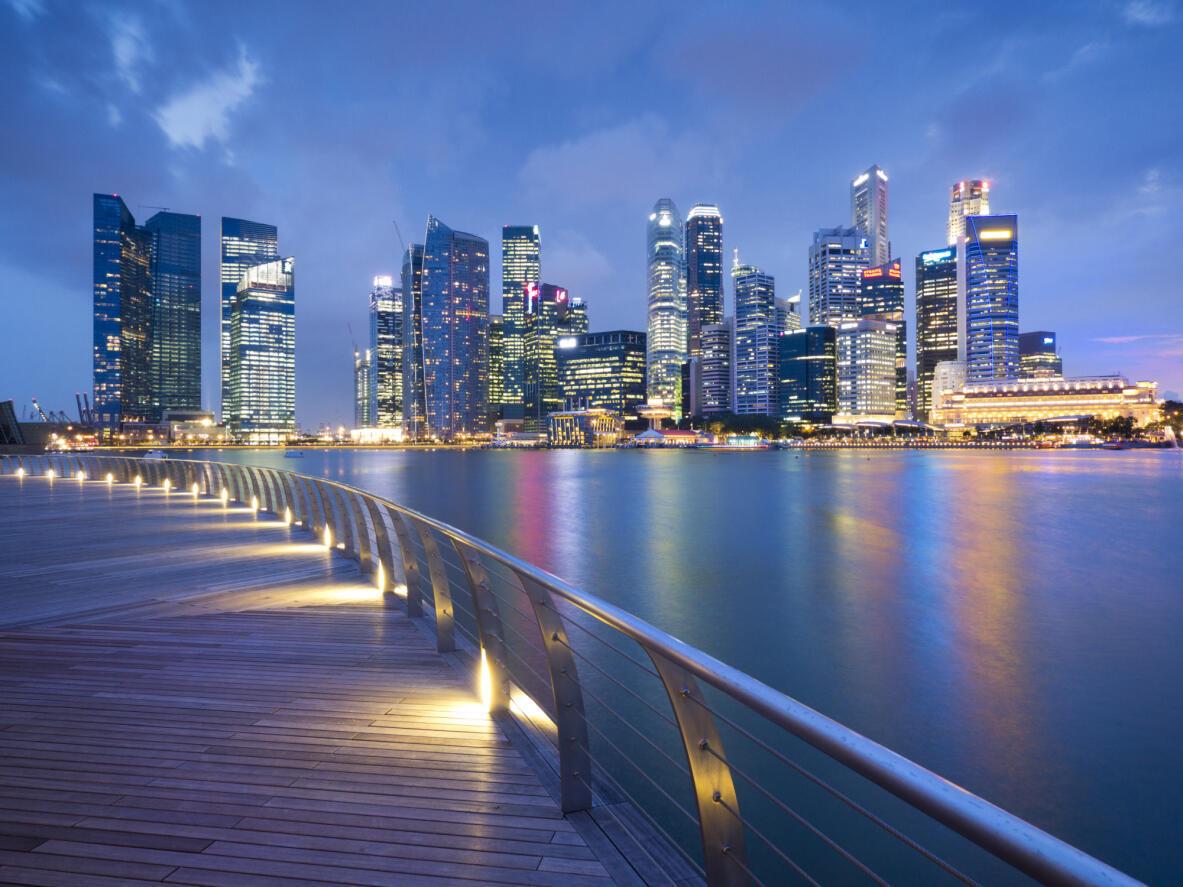 Singapour, vu depuis la Marina Bay.