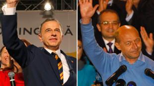 Mircea Geoana (g) et Traian Basescu se disent tous deux vainqueurs de l'élection présidentielle roumaine.