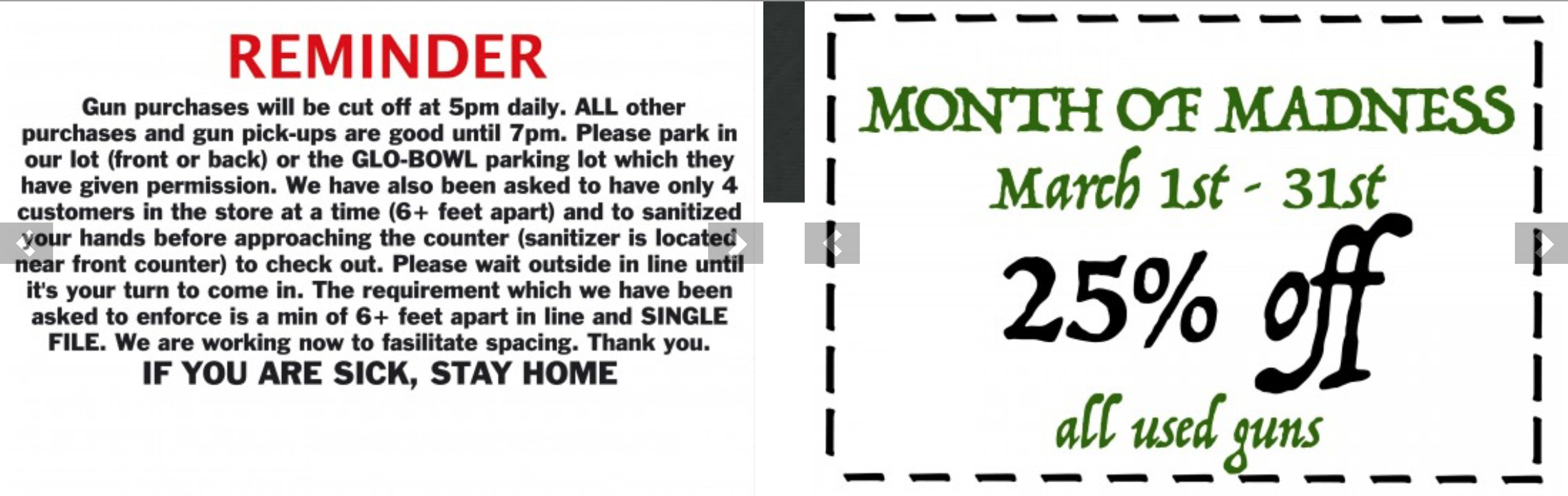 """Ad for a US gun shop advertising the month of March 2020 as the """"Month of Madness"""" and also warning customers to respect security health rules."""