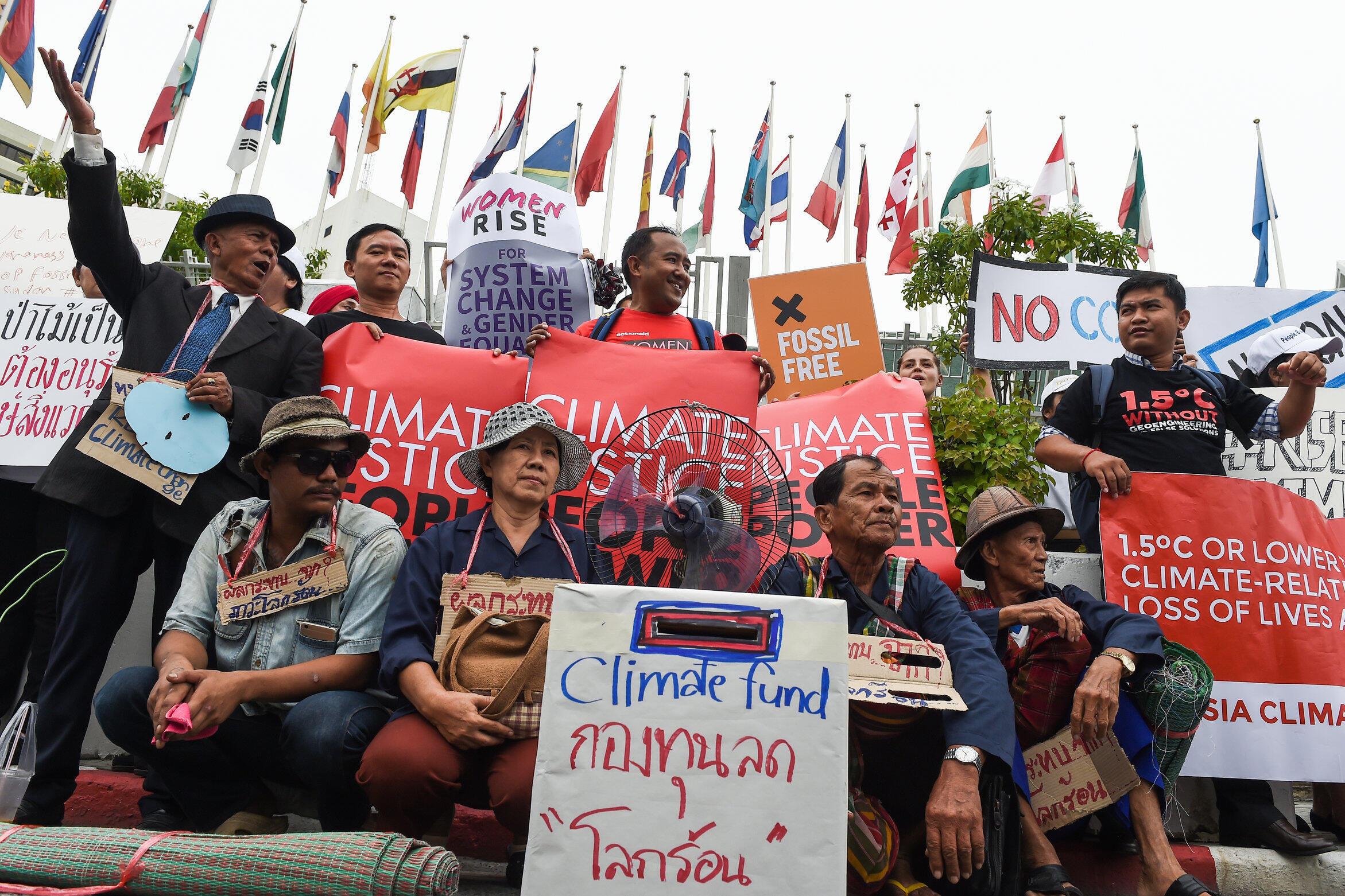 2018年9月8日,環保活動人士在曼谷聯合國機構門前集會,呼籲緊急行動,應對氣候變化。