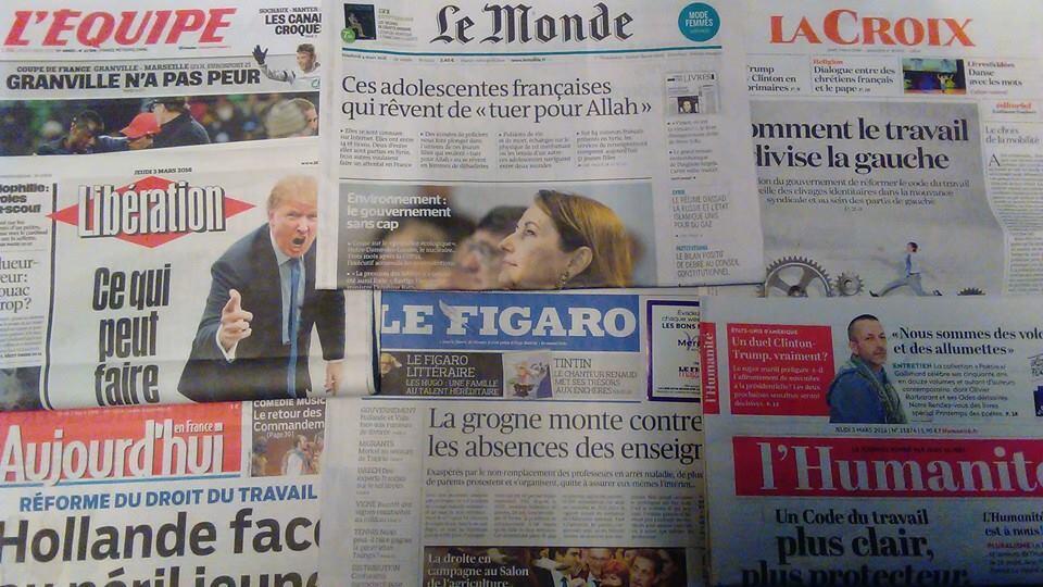 Capas diários franceses 03/03/16
