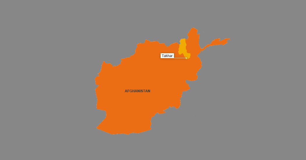 """موقعیت جغرافیایی ولایت """"تخار"""" بروی نقشه افغانستان."""