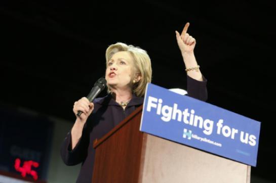 Hillary Clinton katika kampeni Mei 11, 2016 Blackwood, New Jersey.