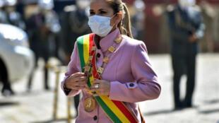 La presidenta interina de Bolivia, Jeanine Áñez, el 7 de agosto de 2020 en La Paz