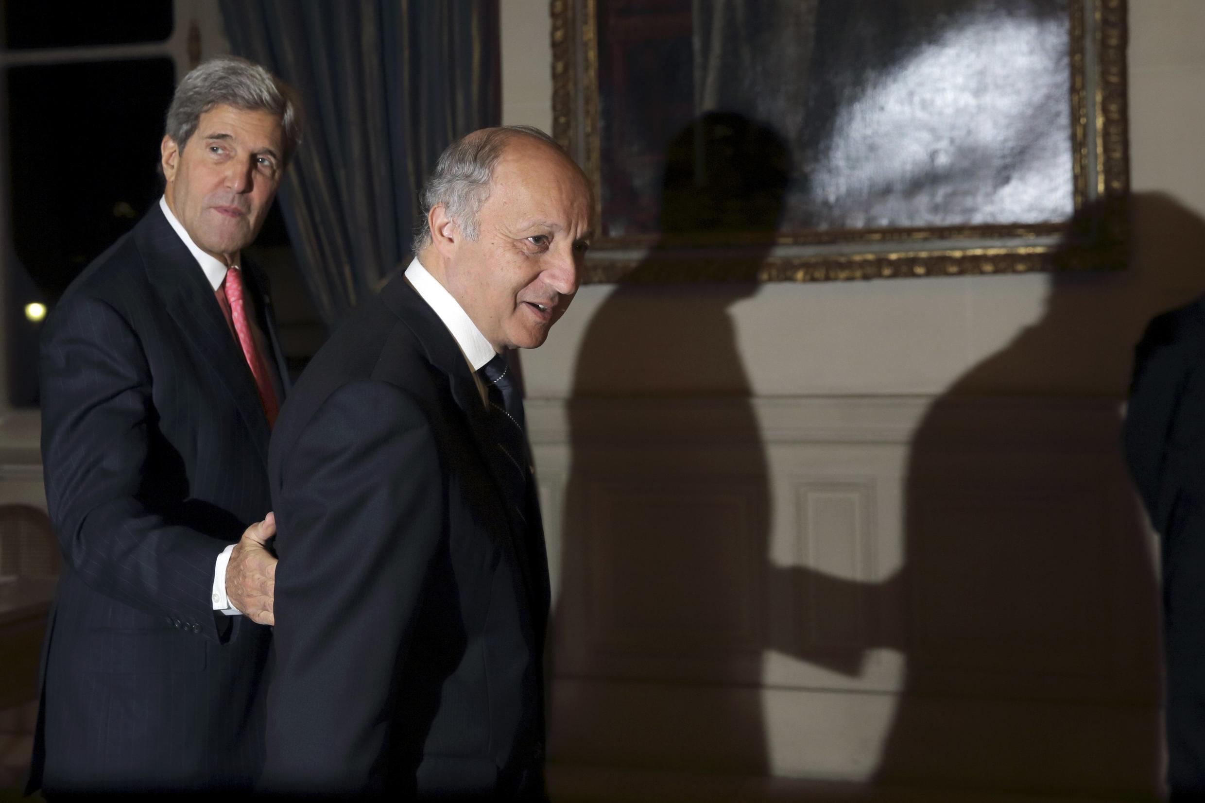 US Secretary of State John Kerry with French Foreign Affairs Minister Laurent Fabius on Tuesday morning