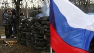 Milícia pró-Rússia em uma fronteira em Gorlovka, na região de Donetsk, no leste da Ucrânia.