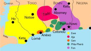 Zones d'origine du Vaudou.