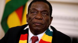 Le président Emmerson Mnangagwa, à Harare, au Zimbabwe, le 3 août 2018.