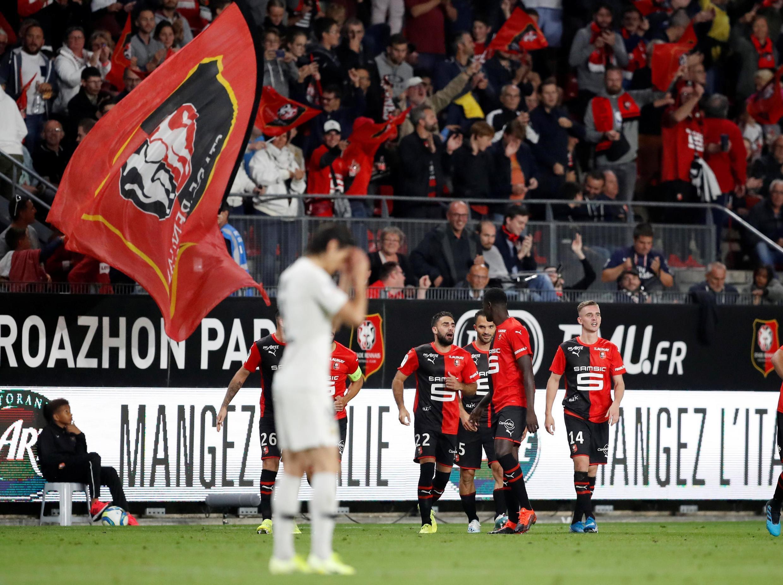 Match PSG-Rennes (Ligue 1) en août 2019. Romain Del Castillo (Rennes) après le deuxième but contre le PSG.