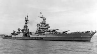 """Tuần dương hạm USS Indianapolis (CA 35) """"mất tích"""" ngày 30/07/1945. Ảnh chụp ngày 10/07/1945 tại căn cứ hải quân Mare Island Yard, California."""