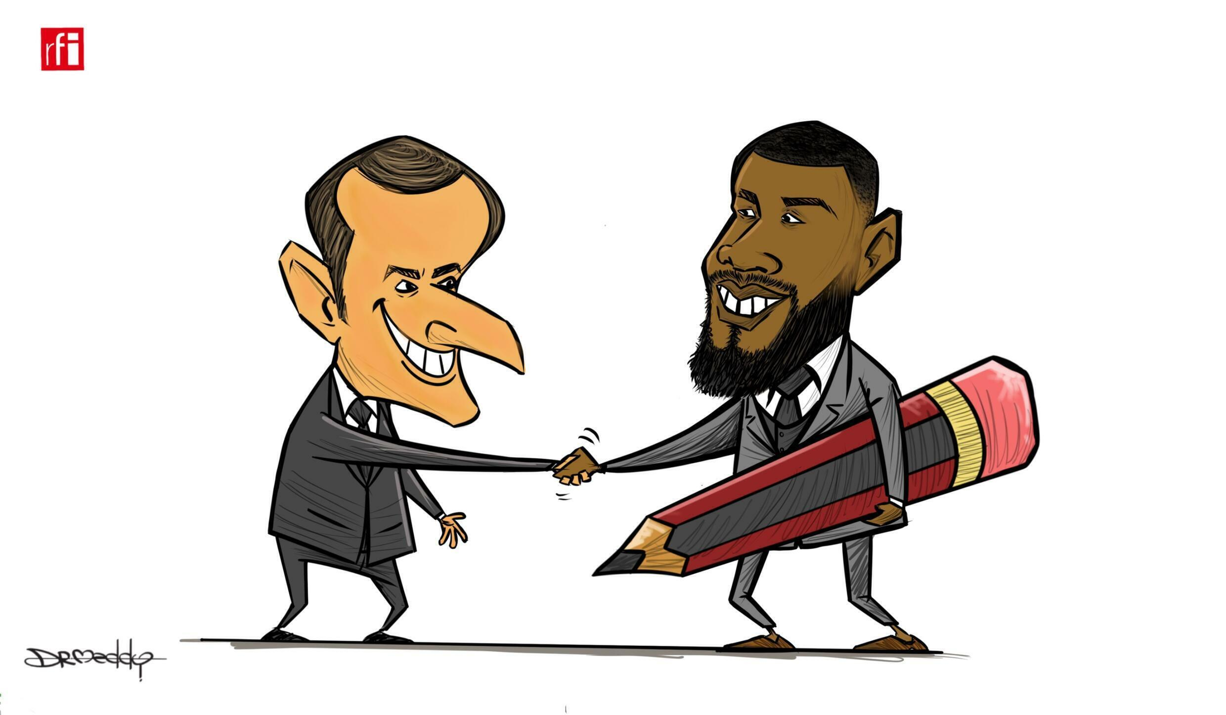 Africa-France: President Emmanuel Macron invites Youths and Civil Society instead of Head of State in this year's Summit, our Cartoonist Dr.Meddy also attended  (08/10/2021)