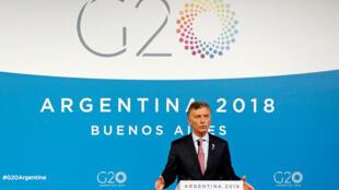 O presidente argentino Mauricio Macri na reunião do G20 em Buenos Aires, em 1 de dezembro de 2018.