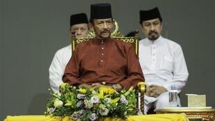 The sultan of Brunei, Hassanal Bolkiah, announcing plans to shelve sharia law in the wake of international outrage.