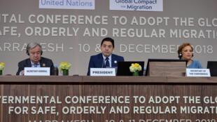 Conférence sur la Migration à Marrakesh, Maroc, le 10/12/2018.