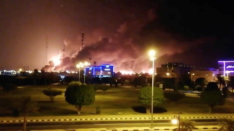 The scene following Saturday's fire at the Saudi state-owned Aramco oil refinery in Abqaiq.
