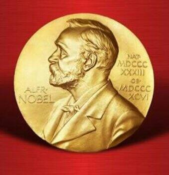 图为诺贝尔金质奖章