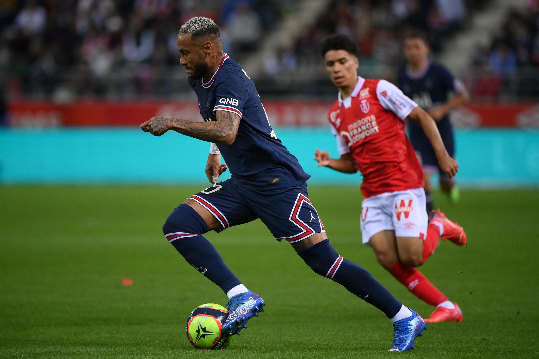 O brasileiro Neymar do PSG, em Reims, em 29 de agosto de 2021.