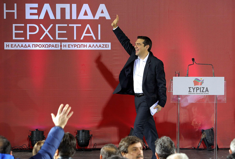 Le leader de l'opposition et du parti radical Syriza, Alexis Tsipras lors d'un meeting le 23 janvier 2015 à Héraklion en Grèce.