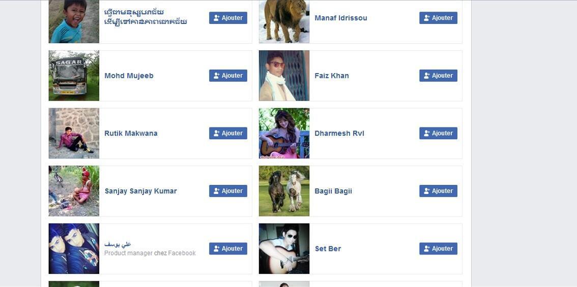 Sur Facebook le compte de «Jean Kasonga» est lié à des centaines d'autres faux profils, certains étrangers, d'autres congolais.