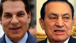 Les biens de Zine el-Abidine Ben Ali (g.) et Hosni Moubarak, objets d'une information judiciaire en France (montage photo).