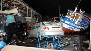 地震引发海啸袭击智利北方港口伊基克2014年4月2日。